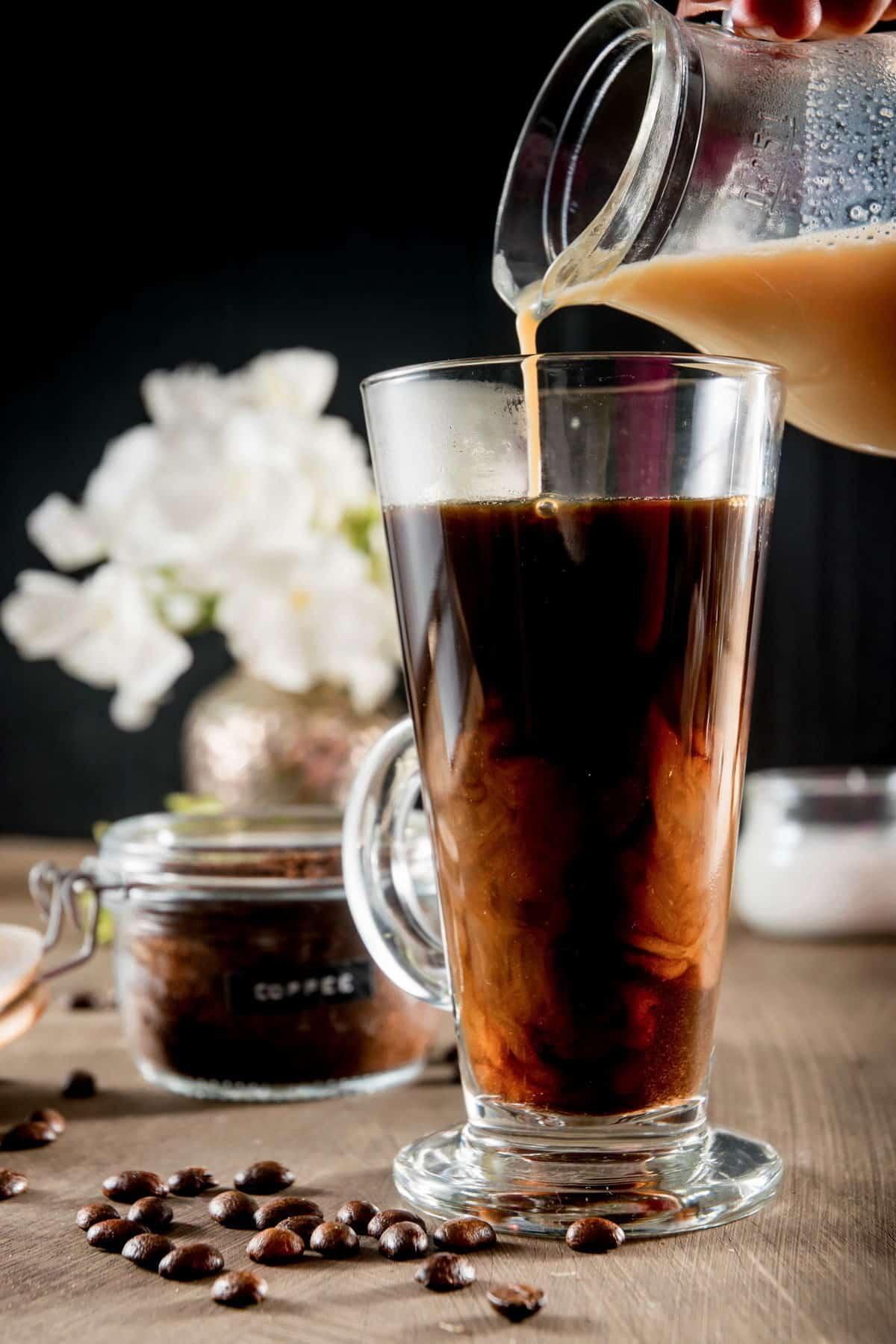 Coffee in a mug with a pumpkin milk mixture.