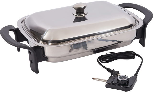 Precise Heat Stainless Steel Electric Skillet 16 inch