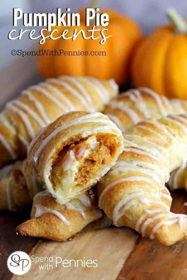 Pumpkin crescents stacked together.