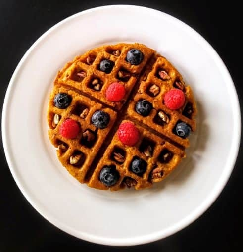 Waffle on white plate and dark background.