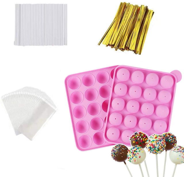 silicone cake pop mold with treat sticks and ties.