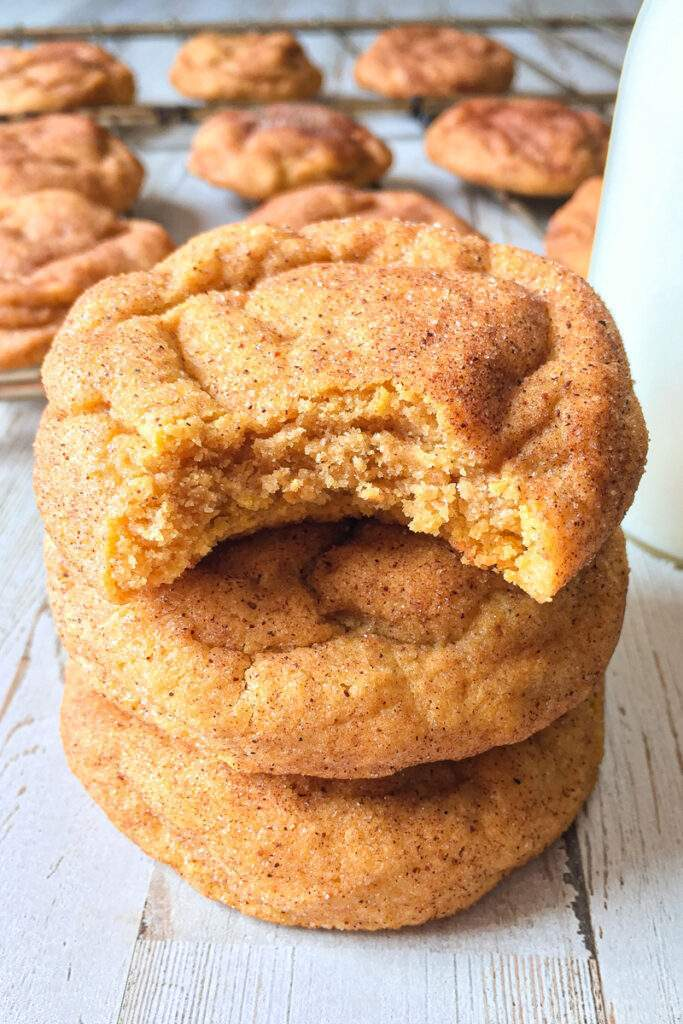 Stacked pumpkin snickerdoodle cookies.
